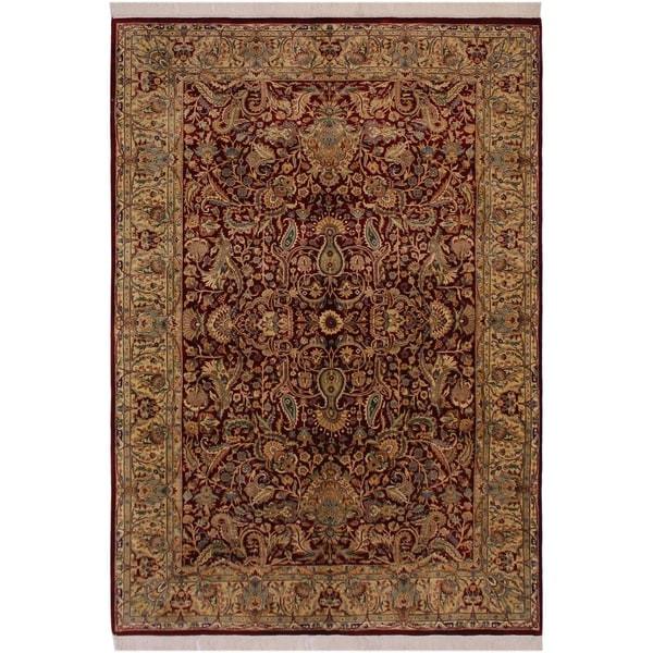 "Aness Pak-Persian Numbers Red/Ivory Wool Rug (6'1 x 9'1) - 6'1"" x 9'1"""
