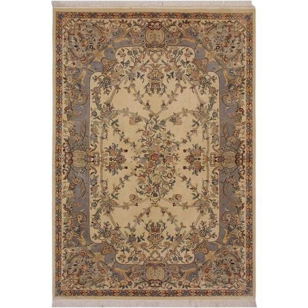 "Gujranwala Pak-Persian Doloris Ivory/Grey Wool Rug (6'2 x 9'2) - 6'2"" x 9'2"""