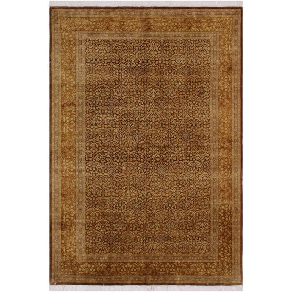 "Guhm Pak-Persian Melany Brown/Gold Wool Rug (6'1 x 9'6) - 6'1"" x 9'6"""