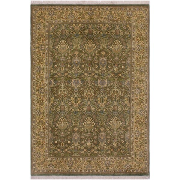 "Pak-Persian Tesha Green/Lt. Gold Wool Rug (6'2 x 9'0) - 6'2"" x 9'0"""