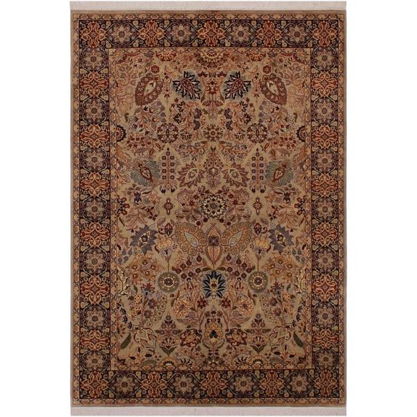 "Shahid Pak-Persian Ranae Grey/Blue Wool Rug (6'2 x 9'4) - 6'2"" x 9'4"""