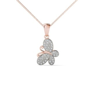 AALILLY 10K Rose Gold 1 8ct TDW Diamond Butterfly Pendant Necklace H I I1 I2