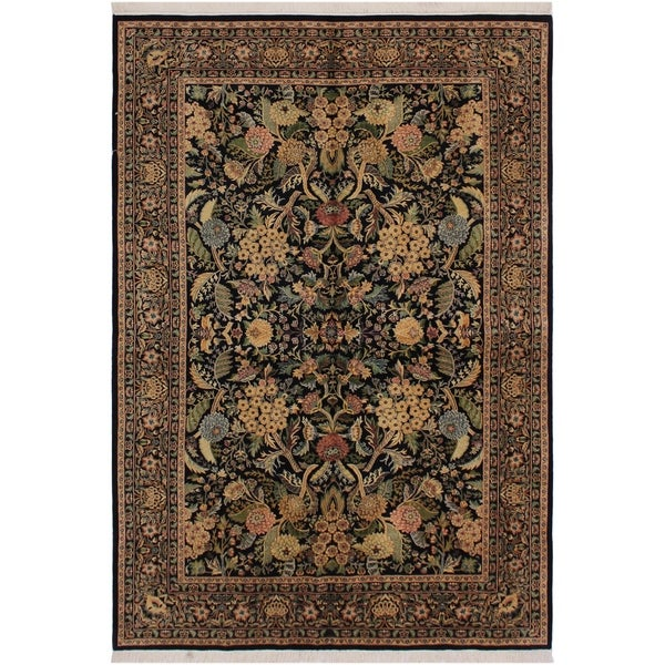 "Nagi Pak-Persian Leeanna Black/Green Wool Rug (5'11 x 9'1) - 5'11"" x 9'1"""