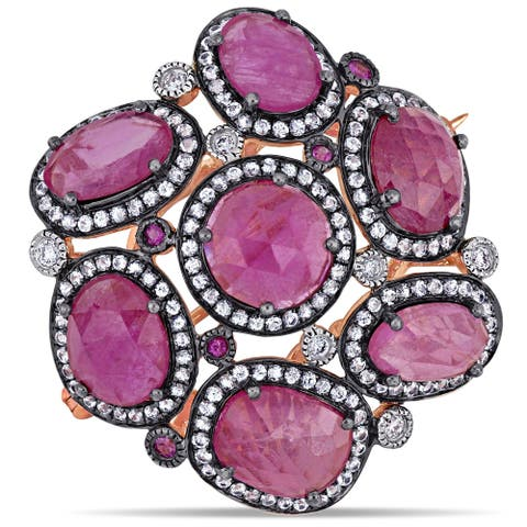 Miadora 14k Rose Gold with Black Rhodium Pink and White Sapphire 1/8ct TDW Diamond Flower Brooch