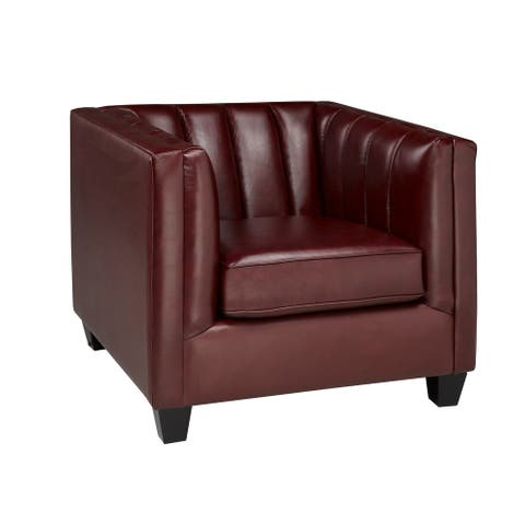 Hastings Top Grain Leather Armchair with Button Tufting