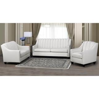 Edgware Top Grain Leather Sofa, Loveseat and Armchair Set
