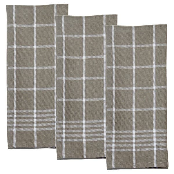 Shop Dunroven House Taupe and White Kitchen Towels Set of 3 ...