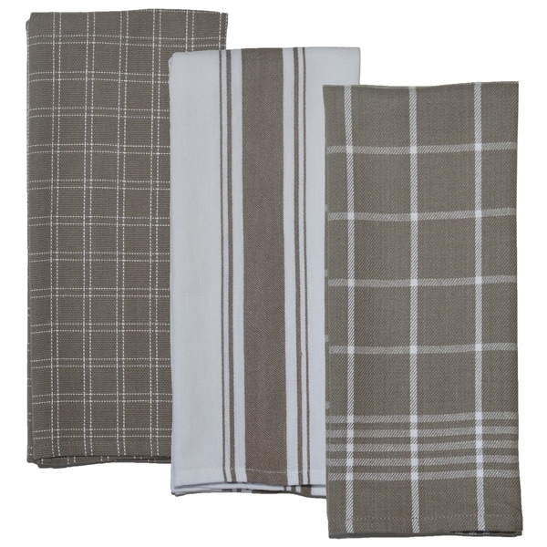 Dunroven House Taupe and White Kitchen Towels Set of 3