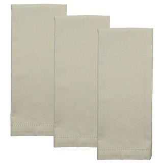 Dunroven House Cotton Linen Hemstitch Tea Towel Set of 3