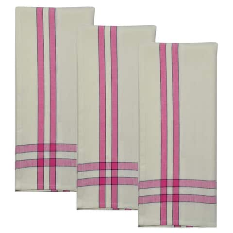 Dunroven House Two Stripe Border Tea Towel Set of 3