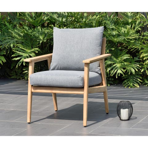 Nordic Patio Teak Wood Armchair. 100% Teak Wood and Olefin Cushions