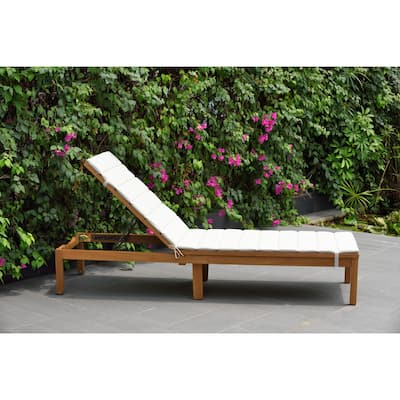 Amazonia Katia Eucalyptus/Teak Finish Outdoor Chaise Lounger with Grey Cushion