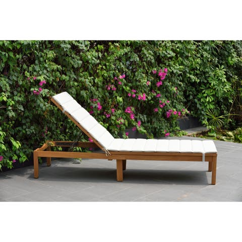 Amazonia Katia Eucalyptus/Teak Finish Outdoor Chaise Lounger with Grey Cushion