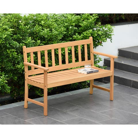 Ferguson Durable Outdoor Bench with Teak Finish by Amazonia - N/A