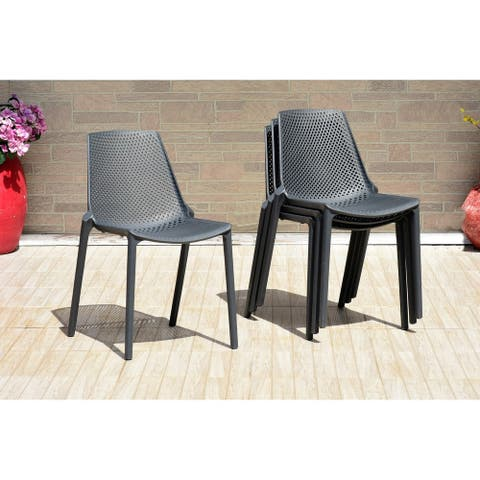 Atlantic Karibe Patio Resin Grey Chairs (Set of 4). Ideal for Indoors and Outdoors