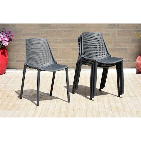 Havenside Home Pizarro Patio Grey Resin Indoor/ Outdoor Chairs (Set of 4)
