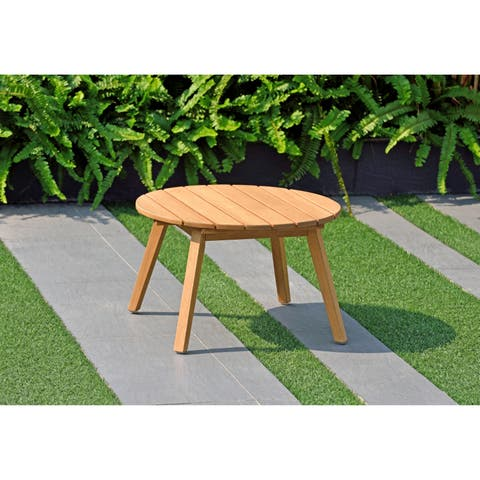 Amazonia Zanzibar Round Side Table with Teak Finish - 13'' H x 20'' L x 20'' W
