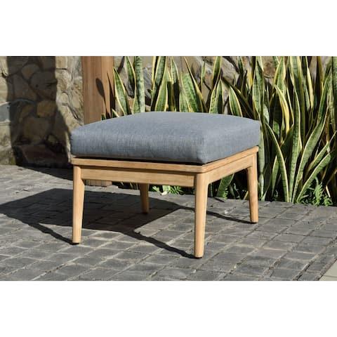 Nordic Patio Teak Wood Ottoman. 100% Teak Wood and Olefin Cushions