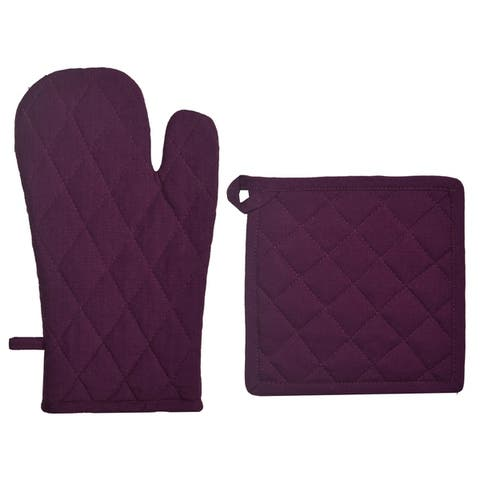 Dunroven House Quilted Oven Mitt and Potholder Set