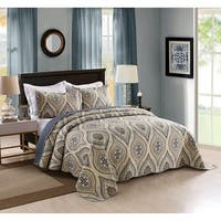 MarCielo 3 Piece Quilted Bedspread Printed Quilt Quilt Set Bedding Throw Blanket Coverlet Oversize Lightweight Bedspread Joni
