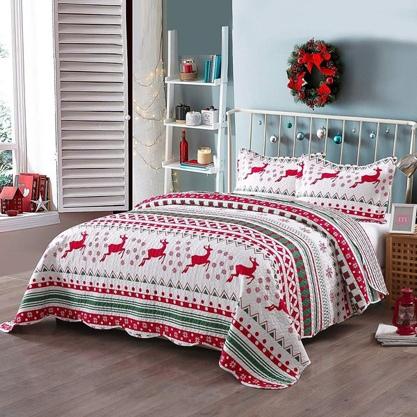 Porch & Den Dutch Christmas Pattern Quilt Set. Opens flyout.