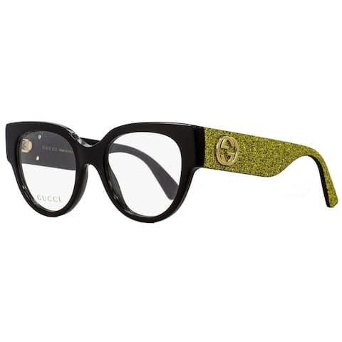 6dfb457ae Gucci GG0103O 002 Womens Black/Gold Glitter 50 mm Eyeglasses - Black/Gold  Glitter