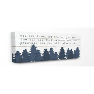 The Kids Room by Stupell You Are Loved For The Precious Son You Are Navy Blue Forest Canvas Wall Art, 10x24, Proudly Made in USA