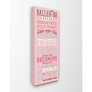 The Kids Room by Stupell Pink Ballerina Rules Dance With Your Heart Typography  Canvas Wall Art, 10x24, Proudly Made in USA