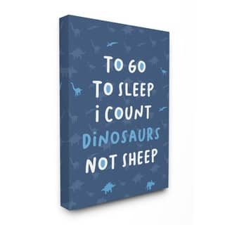 Porch & Den 'To Go To Sleep I Count Dinosaurs Not Sheep' Blue Typography Canvas Wall Art - Multi-Color