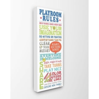 The Kids Room by Stupell Playroom Rules Colorful Typography White Blue Green and Red Canvas Wall Art, 10x24, Proudly Made in USA