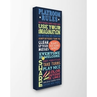 The Kids Room by Stupell Playroom Rules Colorful Typography Navy Blue Green and Red Canvas Wall Art, 10x24, Proudly Made in USA