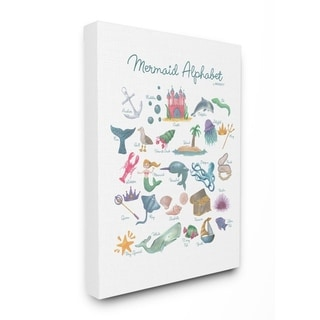 The Kids Room by Stupell Watercolor Mermaid Alphabet Canvas Wall Art, 11x14, Proudly Made in USA - Multi-Color