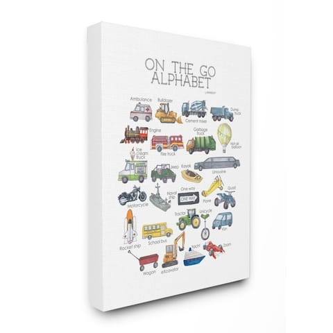 The Kids Room by Stupell Watercolor On The Go Transportation Alphabet Canvas Wall Art, 11x14, Proudly Made in USA - Multi-Color