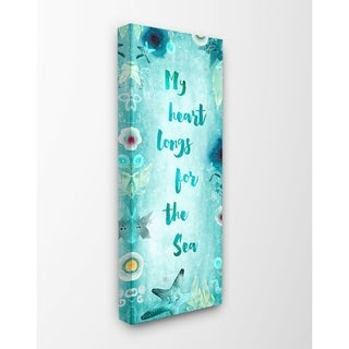 The Stupell Home Decor My Heart Longs For The Sea Teal Watercolor Sea Life Script Canvas Wall Art, 10x24, Proudly Made in USA