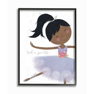 The Kids Room by Stupell Twirl In Your Tutu Black Haired Ballerina in Purple Tutu Framed Art, 11x14, Proudly Made in USA