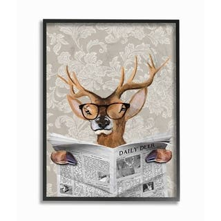 The Stupell Home Decor Deer Reading Newspaper With Big Glasses Framed Art, 11x14, Proudly Made in USA