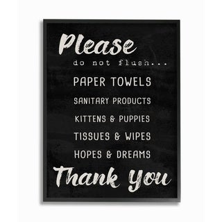 The Stupell Home Decor Black and White Please Do Not Flush Hopes and Dreams Brush Black Framed Art, 11x14, Proudly Made in USA