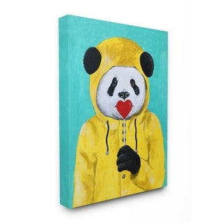 The Stupell Home Decor Yellow Coat Panda With A Lollipop Canvas Wall Art, 11x14, Proudly Made in USA - Multi-Color