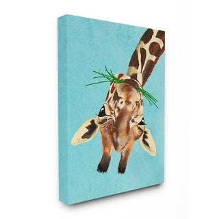 The Stupell Home Decor Curious Upside Down Giraffe Canvas Wall Art, 11x14, Proudly Made in USA - Multi-Color