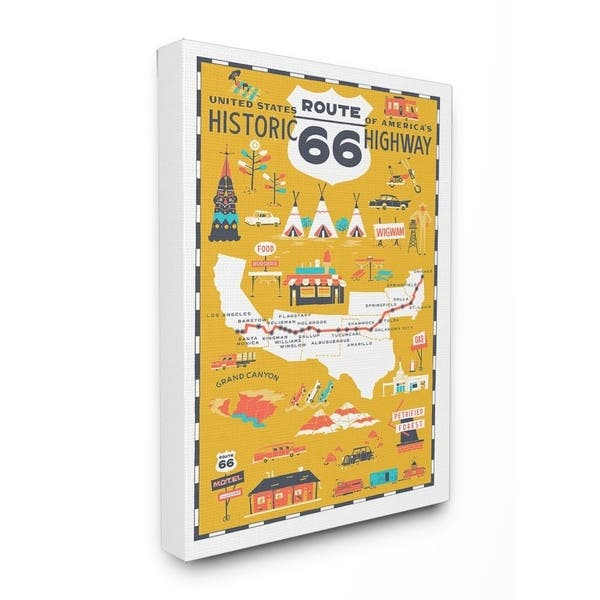 The Stupell Home Decor Us Route 66 Historic Highway Mustard Yellow Canvas Wall Art 11x14 Proudly Made In Usa Multi Color