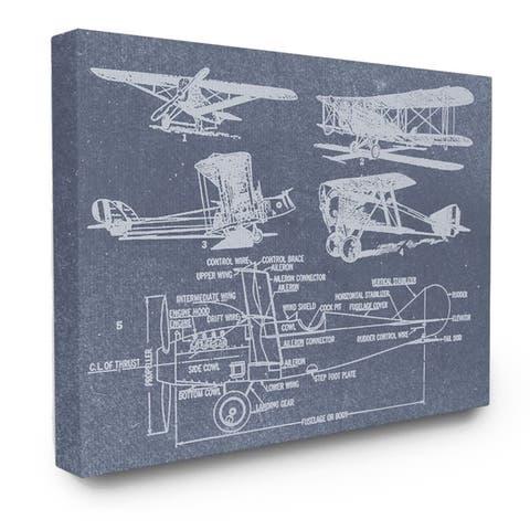 Carbon Loft Vintage Airplanes Diagram Blueprint Canvas Wall Art - Multi-Color