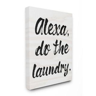 The Stupell Home Decor Alexa Do The Laundry Black and White Brush Typography Canvas Wall Art, 11x14, Proudly Made in USA