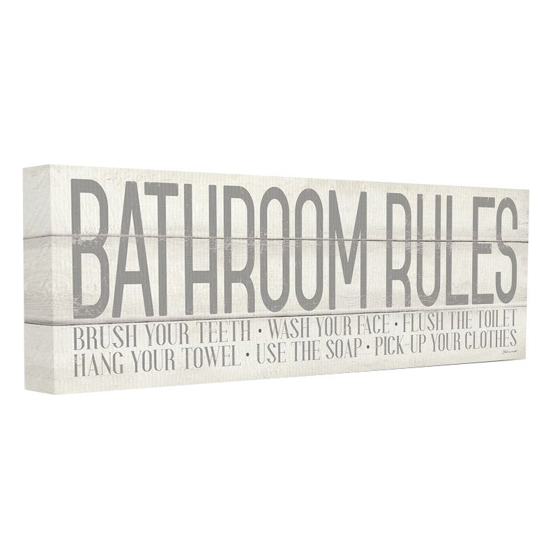 Multi-Color The Stupell Home Decor Bathroom Rules Tan and White Distressed Overlay Typography Stretched Canvas Wall Art Toys & Games