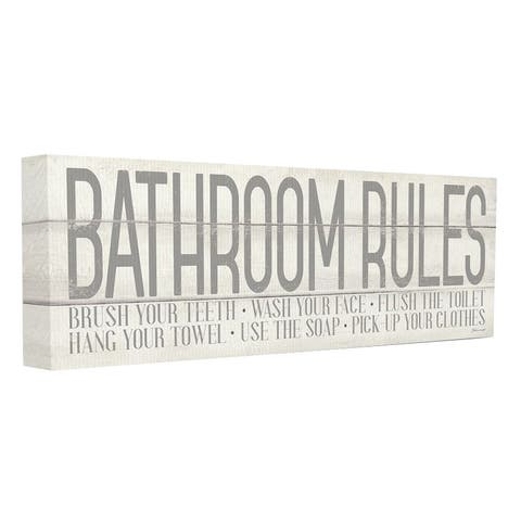 Porch & Den 'Bathroom Rules' Grey and White Planked Look Typography Canvas Wall Art