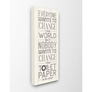 The Stupell Home Decor Everyone Wants To Change The World White Planked Look Canvas Wall Art, 10x24, Proudly Made in USA