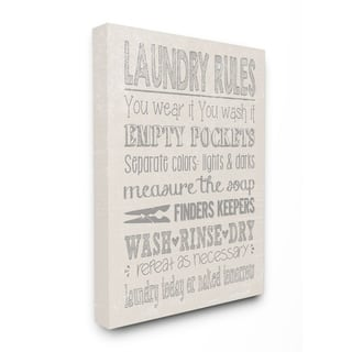 Porch & Den Textured 'Laundry Rules Wash Rinse Dry' Typography Canvas Wall Art - 11x14