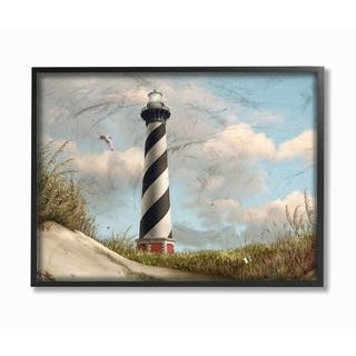 The Stupell Home Decor Cape Hatteras Black and White Swirl Shore Side Lighthouse Framed Art, 11x14, Proudly Made in USA