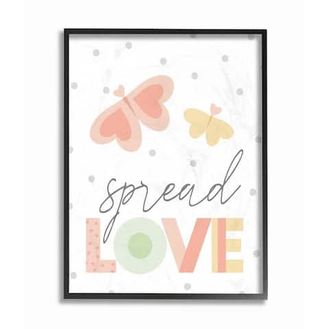 The Kids Room by Stupell Spread Love Pastel Polka Dots and Colorblocked Heart Butterflies Framed Art, 11x14, Proudly Made in USA