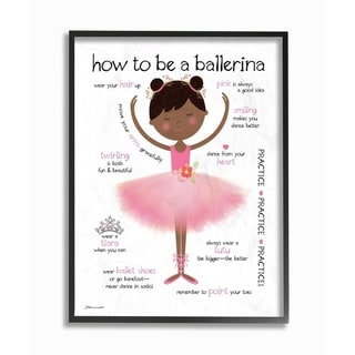 The Kids Room by Stupell How to Be A Ballerina Diagram With Pink Tutu and Slippers Framed Art, 11x14, Proudly Made in USA