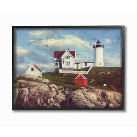 The Stupell Home Decor Nubble Break Water Rocks White Lighthouse with Seagull Framed Art, 11x14, Proudly Made in USA